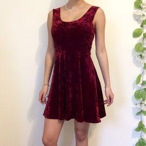 NWOT Red Velvet Skater Dress Back